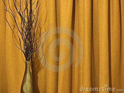 Vase and curtain