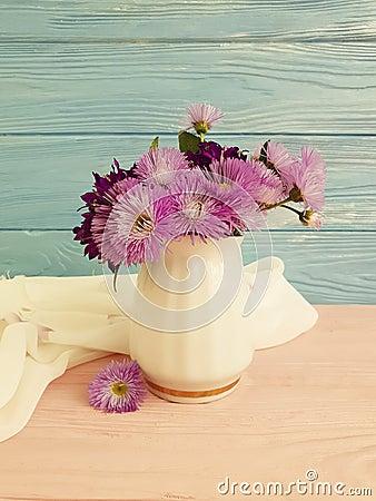Free Vase Flowers Bell, Purple Elegance Beauty Decorative Spring Chrysanthemum Arrangement On A Wooden Background Royalty Free Stock Image - 118730646