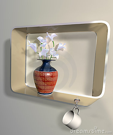 Vase of flowers on an impossible shelf