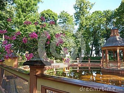 Vase with flowers next to Menagerie Pond Bosquet in Saint Petersburg, Russia Stock Photo