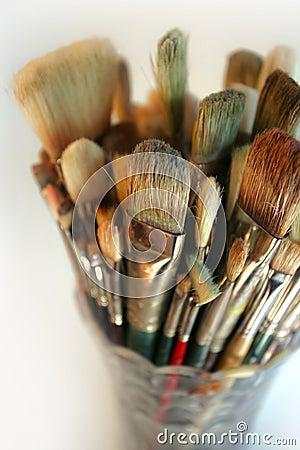 Free Vase Of Used Brushes Stock Photography - 734112
