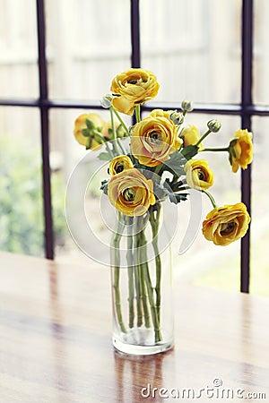 Free Vase Of Yellow Roses Window Light Background Royalty Free Stock Photo - 44596815