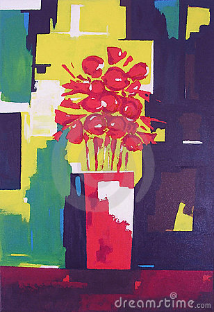 Vase with Red Flowers - Painting
