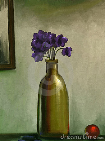 Vase of Violet Flowers - Digital Painting