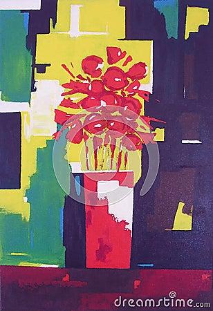Vaso com flores vermelhas - pintura