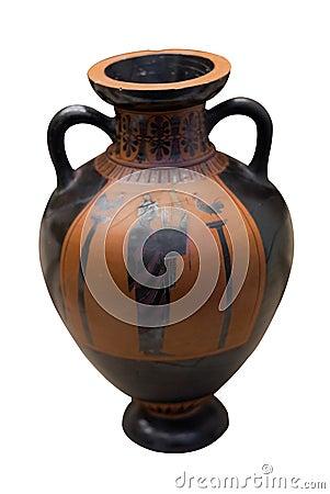Vaso del greco antico nel nero sopra di ceramica rosso for Vaso greco antico