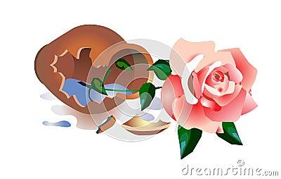 Vaso quebrado com uma rosa