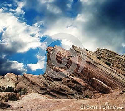 Vasquez Rocks before the storm