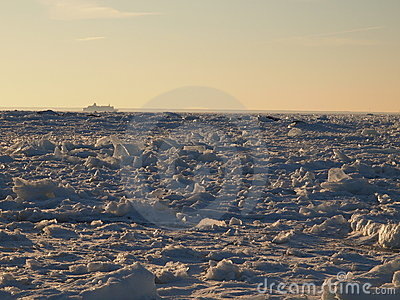 Vast fields of sea ice