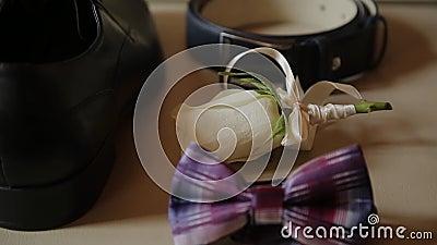 Vastgestelde huwelijksbruidegom, de toebehoren van mensen voor huwelijk stock footage