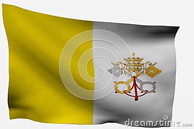 Vatican City 3d flag