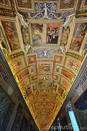 Vatican museum, frescoes and mural paintings Editorial Stock Photo