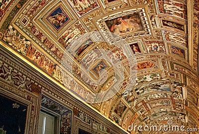 Vatican Museum Hallway Ceiling Editorial Image