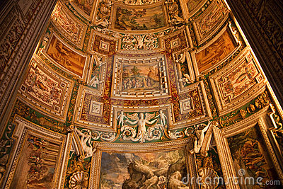 Vatican Museum Map Room Ceiling Rome Editorial Image