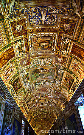 Vatican Museum Map Room Inside Ceiling Rome Italy Editorial Photography