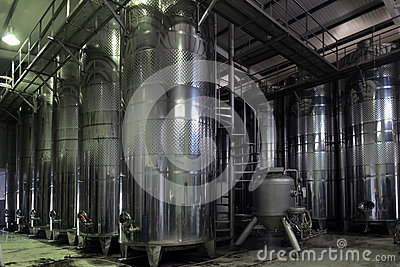 Vats of wine at the winery