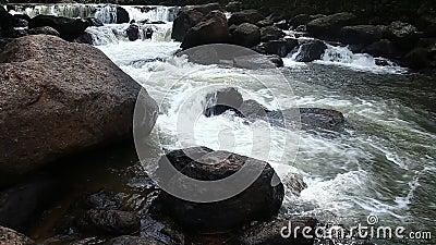 Vattenfall i Nakornnayok, Thailand arkivfilmer
