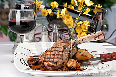 Veal Chop dinner and wine