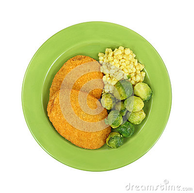 Free Veal Patties Brussels Sprouts Corn On Green Plate Stock Image - 38757841