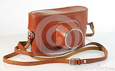 Vecchia cassa del cuoio della macchina fotografica della foto