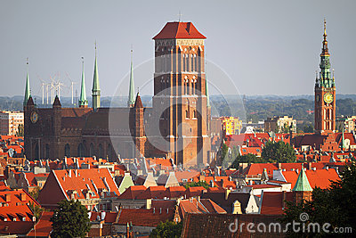 Vecchia città di Danzica con le costruzioni storiche