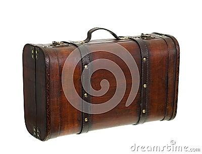 Vecchia retro valigia che si leva in piedi dritta