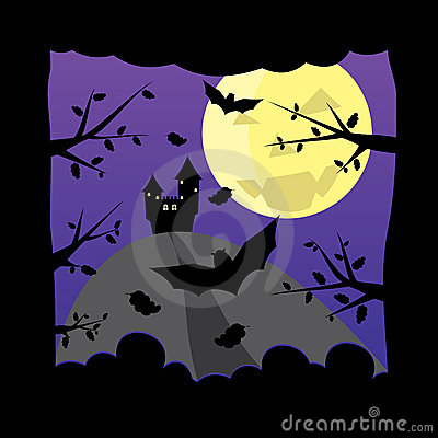 Vecchio castello sulla priorità bassa scura della luna di Halloween di notte