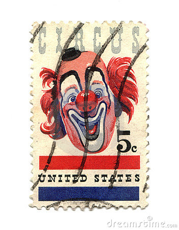 Vecchio francobollo dal centesimo degli S.U.A. cinque