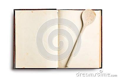 Vecchio libro in bianco di ricetta