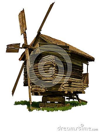 Vecchio mulino a vento di legno isolato