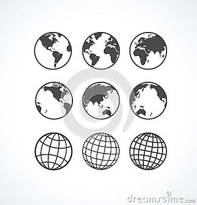 Free Vecrot Globe Icon Set. Stock Photography - 39936082