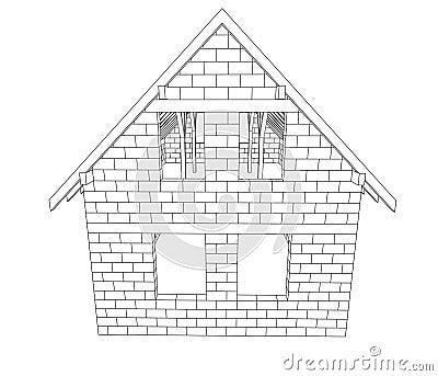 Vecteur construction de maison de bricked de dessin au for Dessins de construction de maison