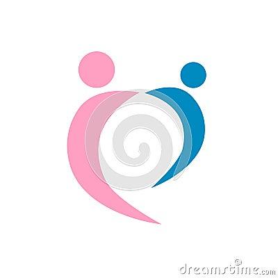 Vecteur de logo de couples d amour