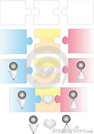 Vecteur de puzzle d amour