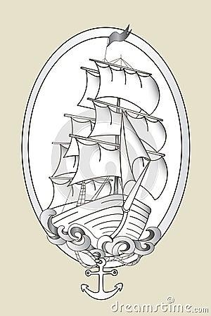 vecteur noir et blanc de pochoir de bateau de tatouage illustration de vecteur image 60840064. Black Bedroom Furniture Sets. Home Design Ideas