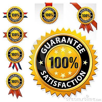 Vector 100  satisfaction guaranteed label or sign
