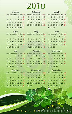 Vector 2010 calendar for St. Patricks Day