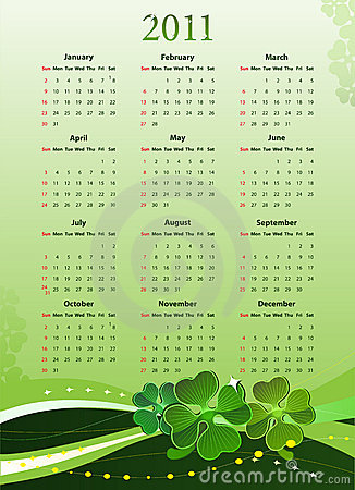 Vector 2011 calendar for St. Patricks Day