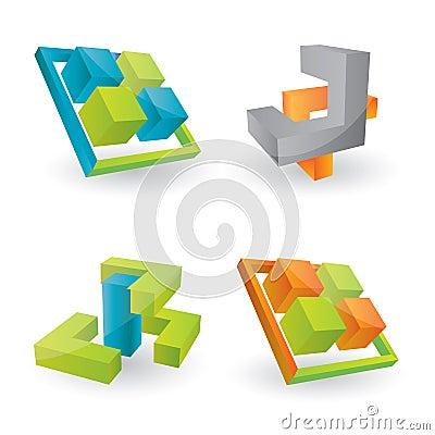 Vector 3d design elements