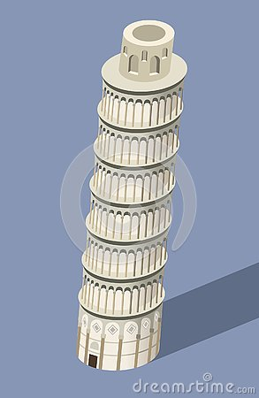 Free Vector 3d Isometric Icon Of Pisa Tower With Flat Style Colored Background And Shadow Stock Photos - 133267393