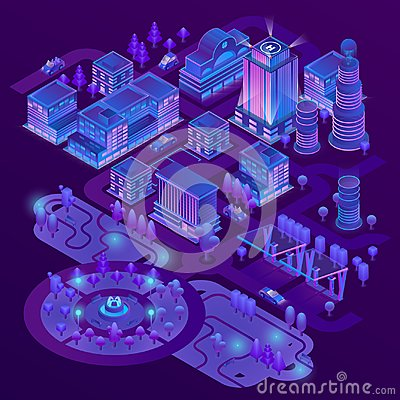Free Vector 3d Isometric Megapolis In Ultraviolet Colors Royalty Free Stock Photos - 117328848
