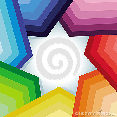 Vector abstract background with rainbow and star