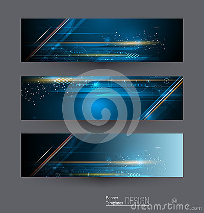 Free Vector Abstract Banners Set With Image Of Speed Movement Pattern And Motion Blur Over Dark Blue Color. Stock Photography - 87847152