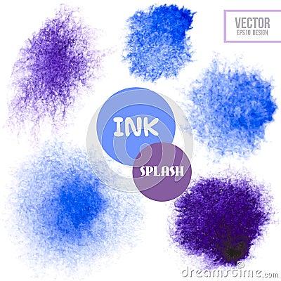 Vector abstract blue and violet blots set. Bright ink design spots Cartoon Illustration