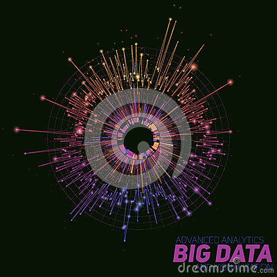 Free Vector Abstract Colorful Round Big Data Visualization. Futuristic Infographics Design. Visual Information Complexity. Stock Images - 91283564