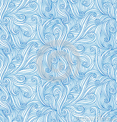 Vector abstract doodle curves seamless pattern