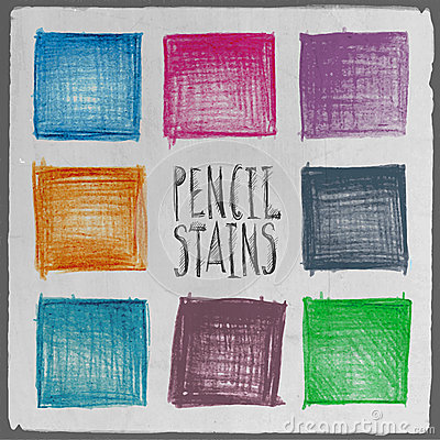 Vector abstract hand drawn pencil squares set