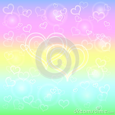 Vector abstract pastel background with hearts