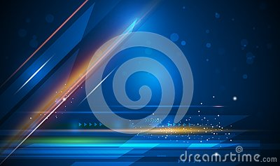Vector light rays, stripes lines with blue light, speed and motion blur over dark blue background Vector Illustration