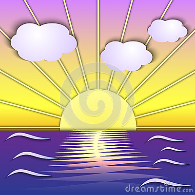Vector abstract sea sunrise scene